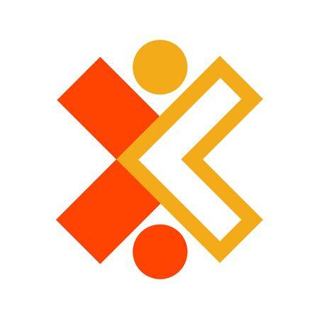 Initial X Cross Symbol Vector Illustration Graphic Design