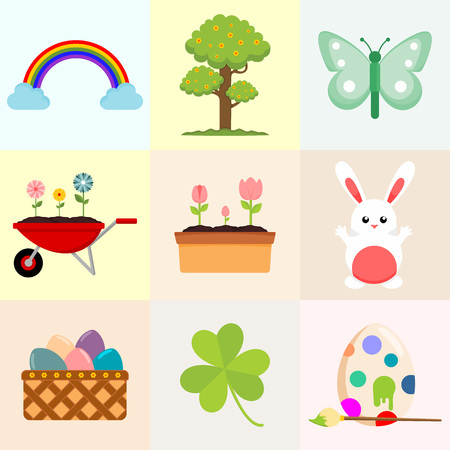 Spring Related Object Drawing Vector Illustration Graphic Design  イラスト・ベクター素材
