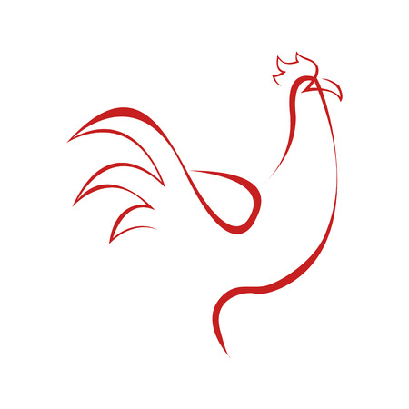 Abstract Rooster Line Art Symbol Vector Illustration Graphic Design