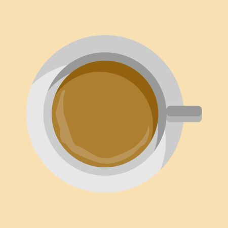 Flat Lay Cup of Coffee Vector Illustration Graphic Design
