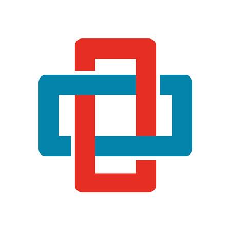 Cross Chain Box Abstract Corporate Symbol Vector Illustration Graphic Design Illustration