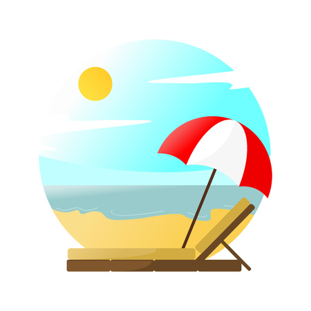 Beach Relaxing Scenery Vector Illustration Graphic Design