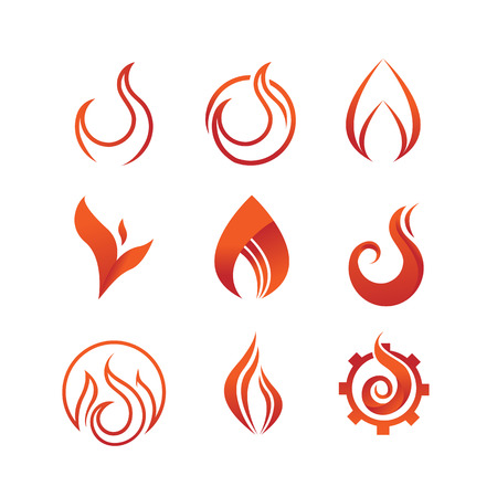 Flame And Fire Symbol Vector Illustration Graphic Design Set