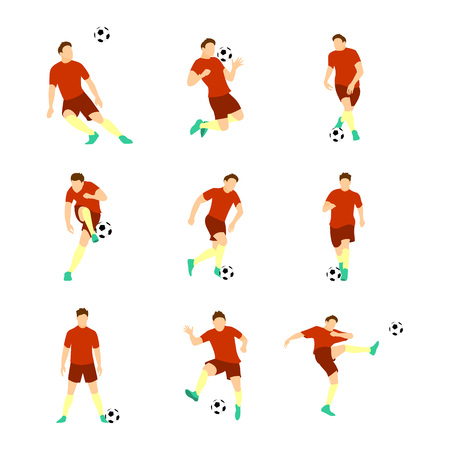 Various Football Soccer Player Vector Illustration Graphic Design Set