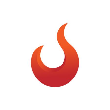 Simple Curve Fire Flames Element Emblem Symbol Vector Illustration Graphic Design Illustration