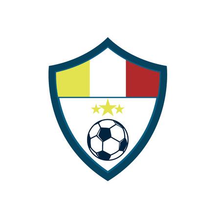 Soccer Fever Concave Shield Footbal Club Emblem Vector Illustration Graphic Design