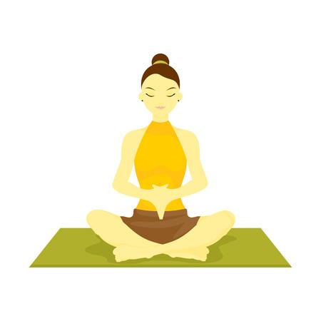 Accomplished Hand Down Prayer Pose Yoga Meditation Vector Illustration Graphic Design Ilustração Vetorial