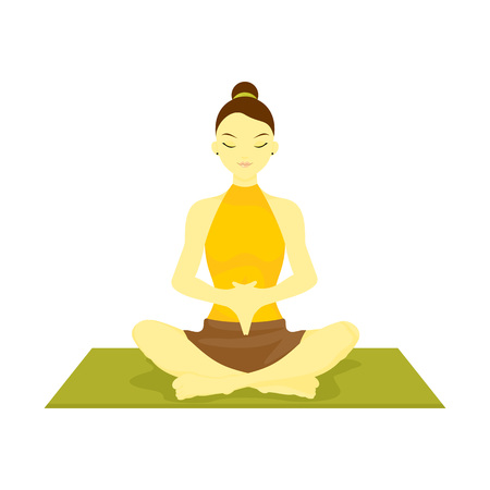 Accomplished Hand Down Prayer Pose Yoga Meditation Vector Illustration Graphic Design
