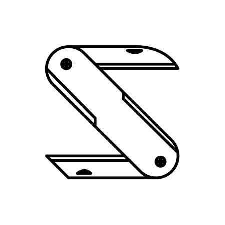 Folding Knife Initial S Lettermark Adventure Thin Line Icon Symbol Vector Illustration Graphic Design