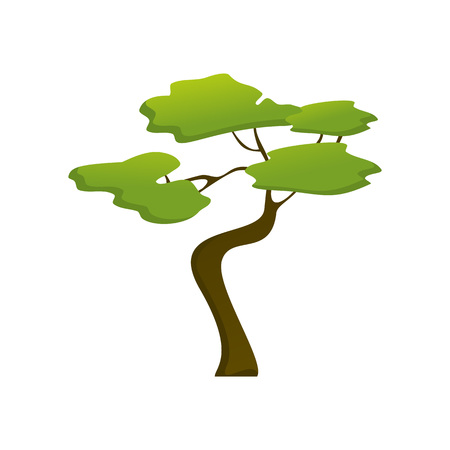 African Isolated Jungle Tree Plant Vector Illustration Graphic Design  イラスト・ベクター素材