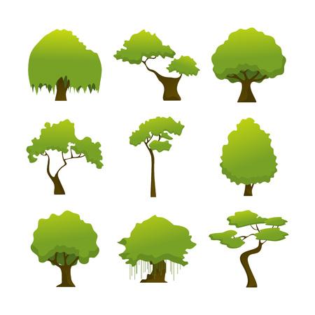 Divers arbre isolé sauvage plante Vector Illustration Graphic Design Set Banque d'images - 96730476