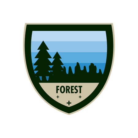 Blue Forest Adventure Shield Badge Vector Illustration Graphic Design