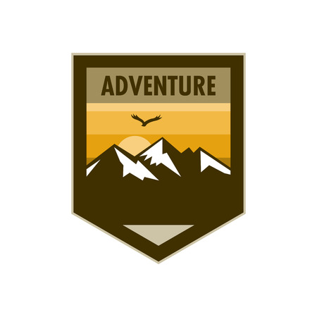 Orange Scene Mountain Adventure Edgy Shield Badge Vector Illustration Graphic Design