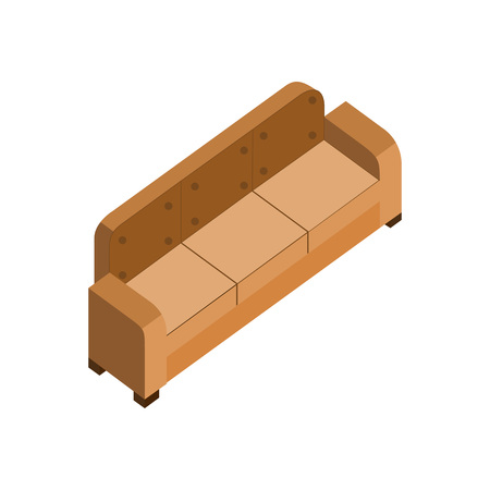 Long leather brown couch 3d isometric furniture vector illustration graphic design. Stock Illustratie