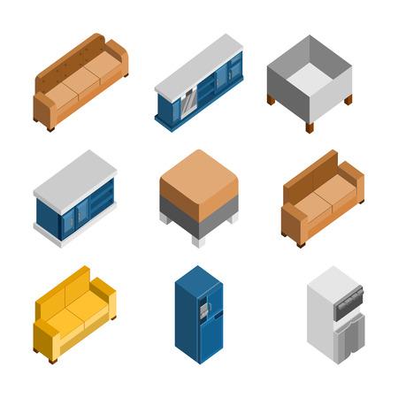 Various 3D isometric home furniture vector illustration graphic design set. Illustration