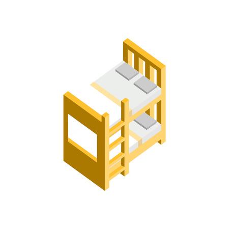 Bunk Bed 3D Isometric Furniture Vector Illustration Graphic Design