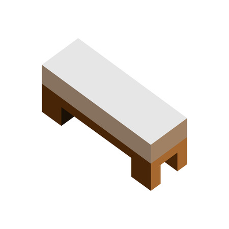 Wood side bed, sofa seat 3D isometric furniture. Vector illustration graphic design.