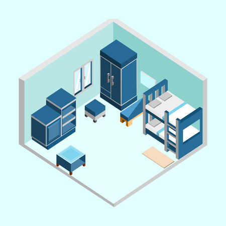 Blue Kid Bedroom Isometric Home Interior Vector Illustration Graphic Design