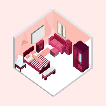 Feminine Bedroom Isometric Home Interior Vector Illustration Graphic Design
