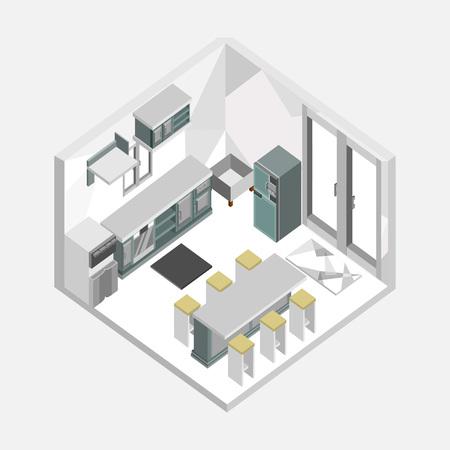 Grey Color Kitchen Isometric Home Interior Vector Illustration Graphic Design