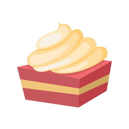 Soft Cake With Cheese Frosting Vector Illustration Graphic Design