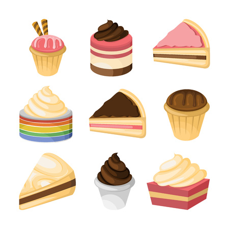 Various cake and sweet vector illustration graphic design set.