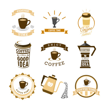 Coffee Time Various Mural Lettering Typography Vector Illustration Graphic Design Set Illustration