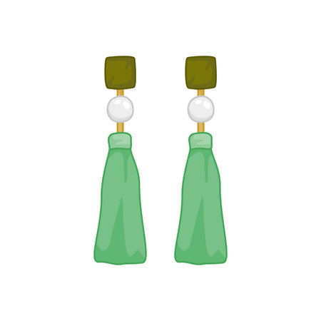 Green Pearl Earings Fashion Style Item Vector Illustration Graphic Design Illustration