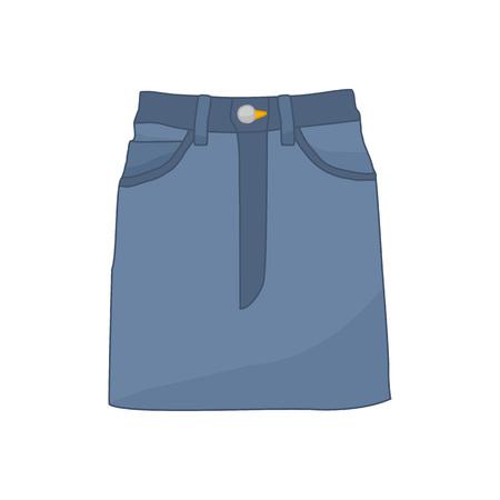 Denim Skirt Fashion Style Item Vector Illustration Graphic Design