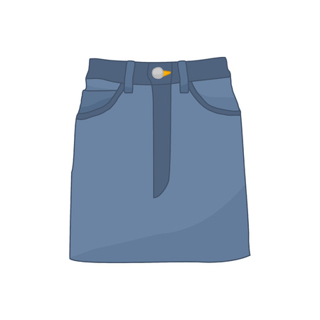 Denim Skirt Fashion Style Item Vector Illustration Graphic Design