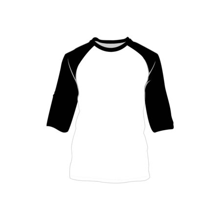 Raglan shirt black white fashion style item vector illustration graphic design.