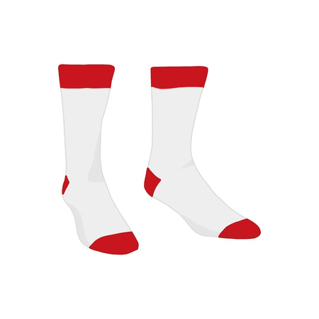 White Red Accent Socks Fashion Style Item Vector Illustration Graphic Design 矢量图像