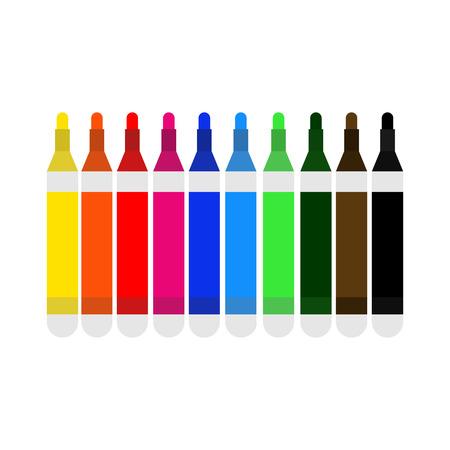 Pen Multi Colour Marker Vector Illustration Graphic Design