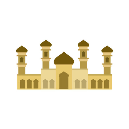 Sand color Islamic mosque building isolated on a white background. Vector illustration graphic design