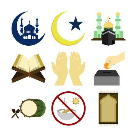 Various Islamic symbols isolated on a white background. Vector illustration graphic design. Vetores