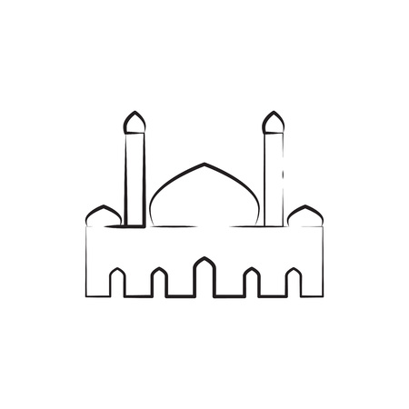 Mosque Twin Tower Sketch Outline Custom  Illustration Graphic Design Vettoriali
