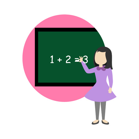 Explaining Math School Cartoon Graphic Illustration Design