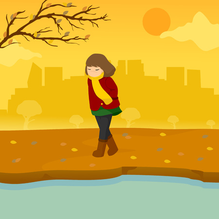 Sad Lonely Girl Autumn Season Scene Illustration Vector Graphic Design Template Ilustração