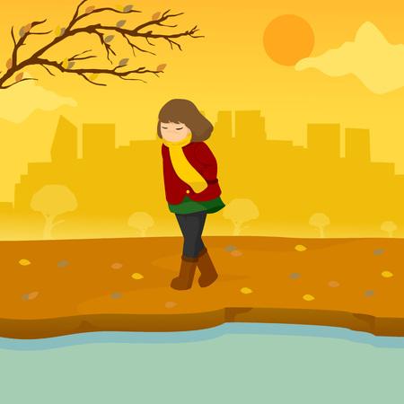Sad Lonely Girl Autumn Season Scene Illustration Vector Graphic Design Template Illustration