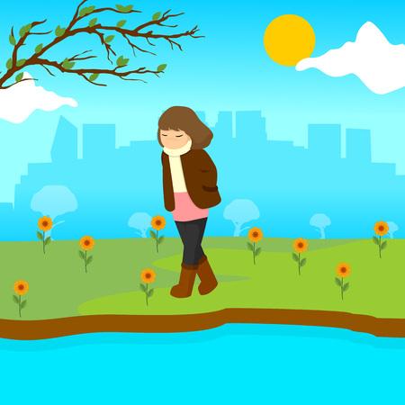 Sad Lonely Girl Spring Season Scene Illustration Vector Graphic Design Template