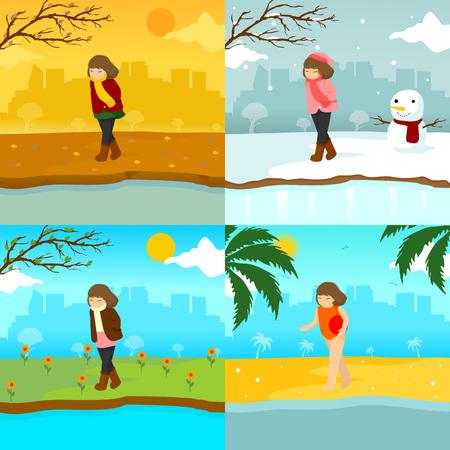 悲しい孤独な少女複数のシーズンシーンイラストベクトルグラフィックデザインテンプレート