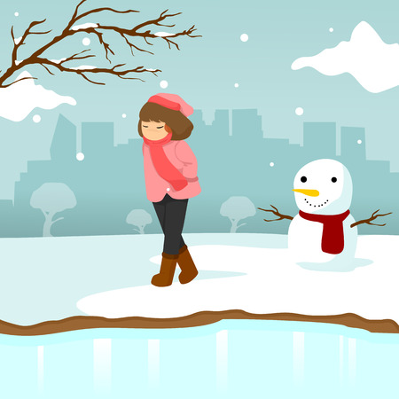 悲しい孤独な少女冬のシーズンシーンイラストベクトルグラフィックデザインテンプレート