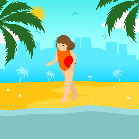 Swimming Girl Summer Season Scene Illustration Vector Graphic Design Template