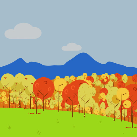 Simple Mountain View Forest Vector Art Autumn Scenery Illustration Graphic Design Template