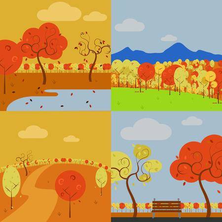 Collection of Simple Vector Art Autumn Scenery Illustration Graphic Design Template Set Ilustração