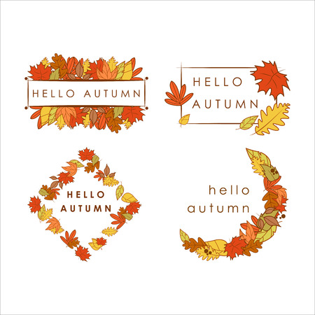 Hello Autumn Greeting Dry Leaves Frame Illustration Graphic Design Template Set