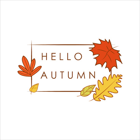 Hello Autumn Greeting Simple Dry Foliage Frame Illustration Graphic Design Template Ilustração