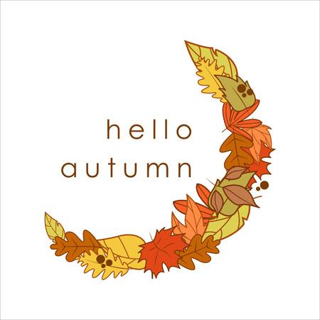 Hello Autumn Greeting Crescent Shape Dry Leaves Frame Illustration Graphic Design Template Ilustração