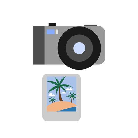 Travel Photo Camera Summer Icon Vector Illustration Graphic Design Template Illustration