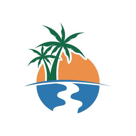 Palm Tree Sunset View Vector Illustration Graphic Design Template Banque d'images - 117615429